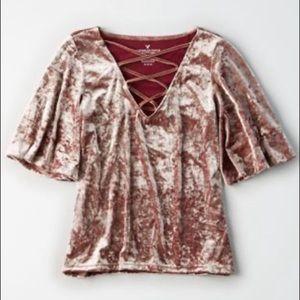 AEO pink crushed velvet flutter sleeve top